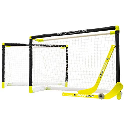 Franklin Sports Knee Hockey Goal Set - Mini Hockey Goals - 2 Goals - Pro Style Top Shelf - Kids Hockey Set - NHL, White