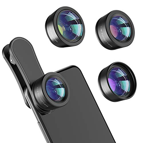 Phone Camera Lens,Upgraded 3 in 1 Phone Lens kit-198° Fisheye Lens + Macro Lens + 120° Wide Angle Lens,Clip on Cell Phone Lens Kits Compatible with Most iPhones,Most Smartphones