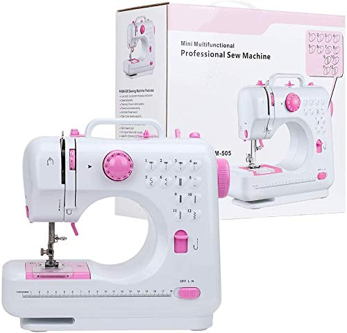 Sewing Machine for Beginner, Crafting Mending Machine with Double Thread and Speed, 12 Built-in Stitches LED Night Light and Foot Pedal, Pink