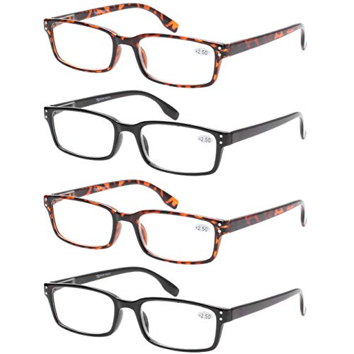 READING GLASSES 4 Pack Spring Hinge Comfort Readers Plastic Includes Sun Readers, 2 Black 2 Tortoise, Medium