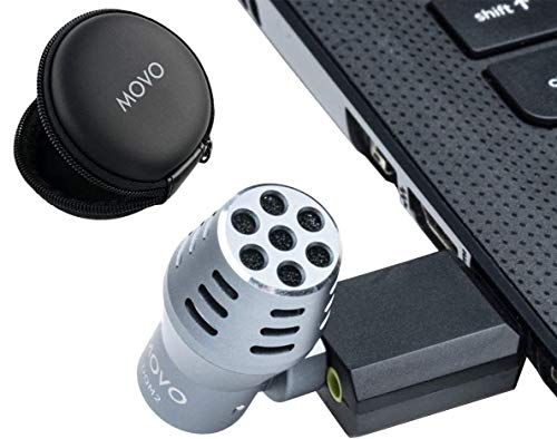 Movo by-OM2 Mini Omnidirectional USB Computer Microphone with USB Adapter Compatible with Laptop, PC and Mac, Perfect Podcasting, Gaming, Remote Work, Conference, Livestream, VOIP and Desktop Mic