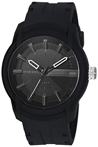 Diesel Men's Armbar Silicone Casual Watch, Color: Black (Model: DZ1830)