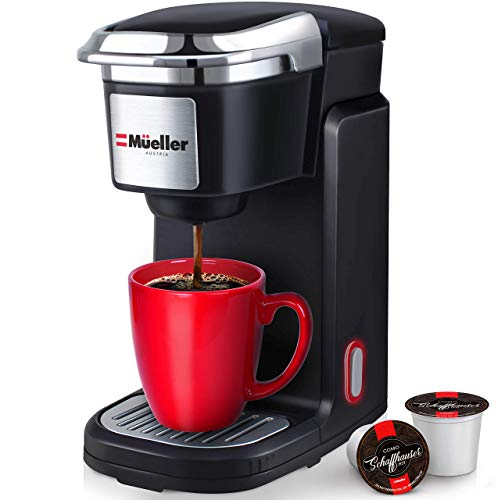 Mueller Ultimate Brewmaster Single Serve Coffee Maker, Personal Coffee Brewer Machine for Single Cup Pods & Reusable Filter, 10oz Water Tank, Quick Brewing, One Touch Operation, Compact Size, for Home, Office, RV