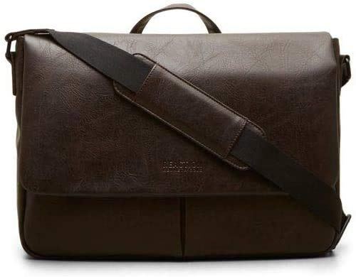 Kenneth Cole Reaction Distressed Echo Vegan Leather Flapover Crossbody Anti-Theft RFID Bag Brown، Laptop Messenger
