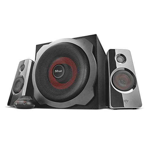 Trust Gaming GXT 38 Tytan 2.1 PC Gaming Speaker System with Subwoofer for Computer and Laptop, 120 W, UK Plug - Black/Red