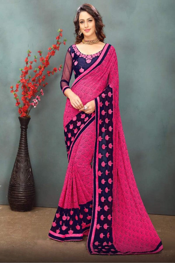 Pink Color Wetless Abstrac & Floral Print with Lace Border Saree with Blouse