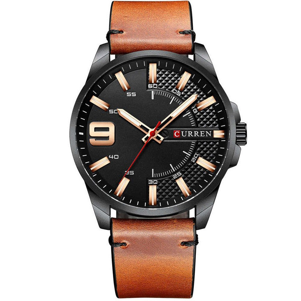 Curren Leather Fashion Watch For Men, 8371, Black and Brown