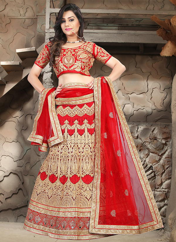 Women's Red Pretty A Line Lehenga Style With Crystals Stones Work Dupatta by Brthika