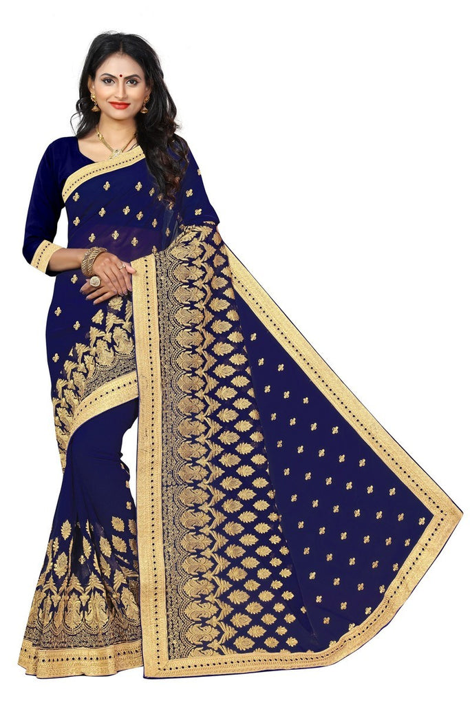 Ramita - Georgette Kutch Embroidered Saree With Blouse