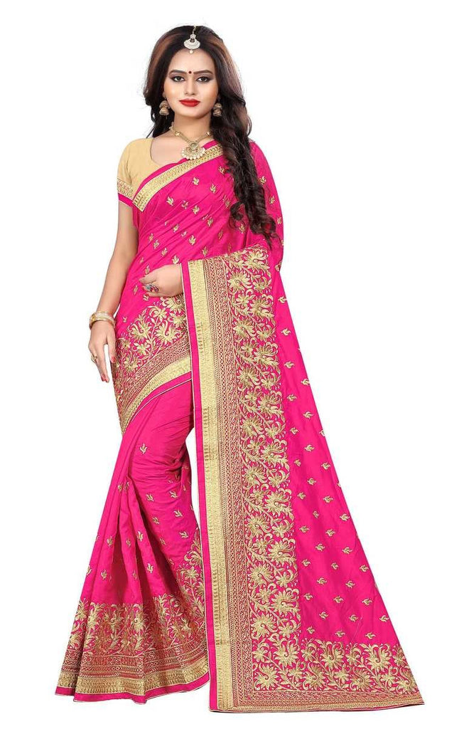 Silk Kutch Embroidered Saree With Blouse