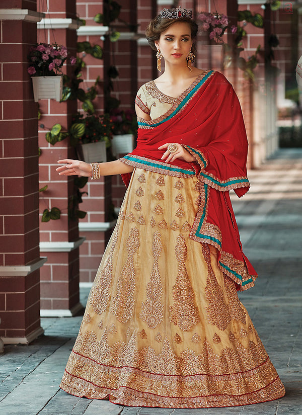 Women's Tan Brown Pretty A Line Lehenga Style With Crystals Stones Work Dupatta by Brthika