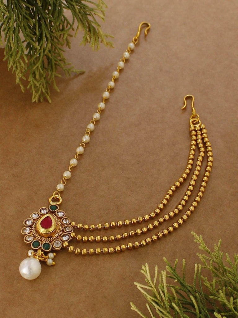 Avismaya Gold Tone American Diamond Stone And Pearls Bridal Maang Tikka