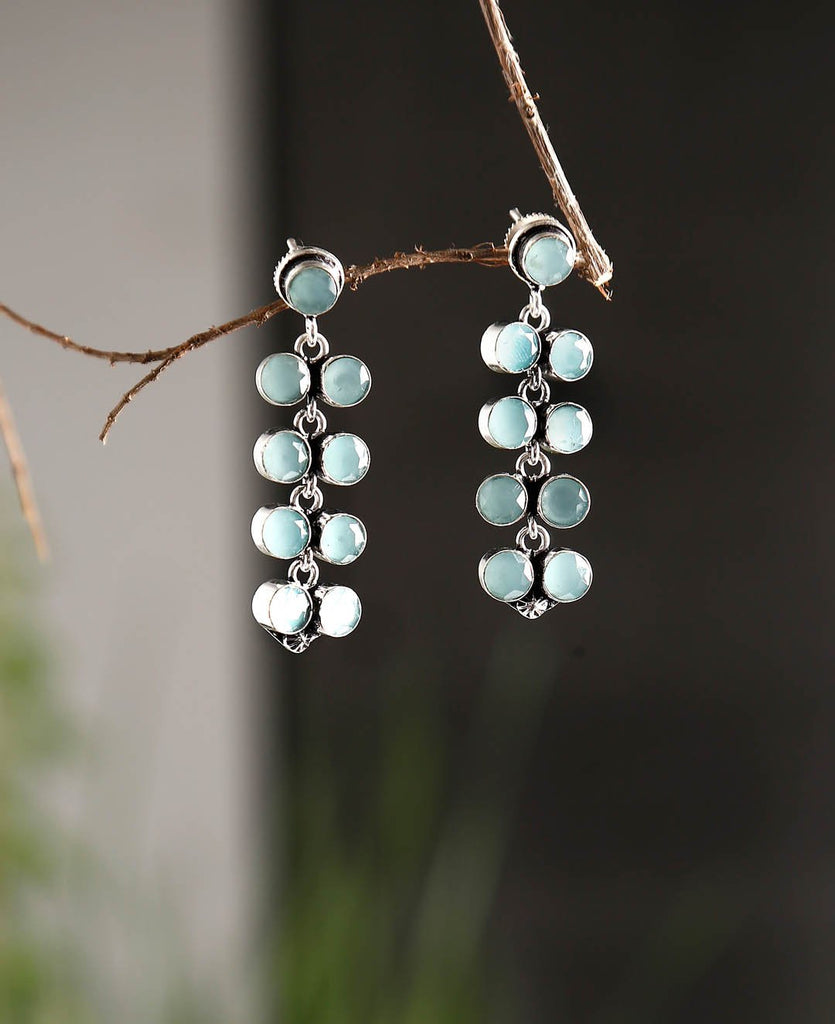 Oxidised Silver Plated Light Blue Color Stones Geometric Design Drop Earring By Imli Street
