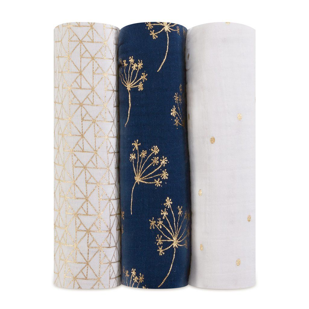 Aden+Anais - Metallic Gold Deco - 3-Pack Classic Swaddles