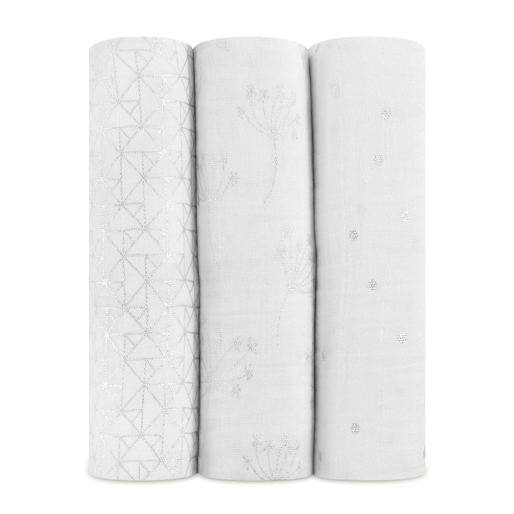 Aden+Anais - Metallic Silver Deco - 3-Pack Classic Swaddles