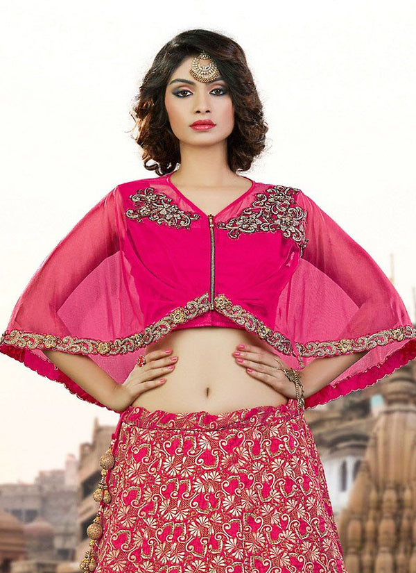 Women's Silk Fabric and Pink Pretty Circular Lehenga Style by Brthika