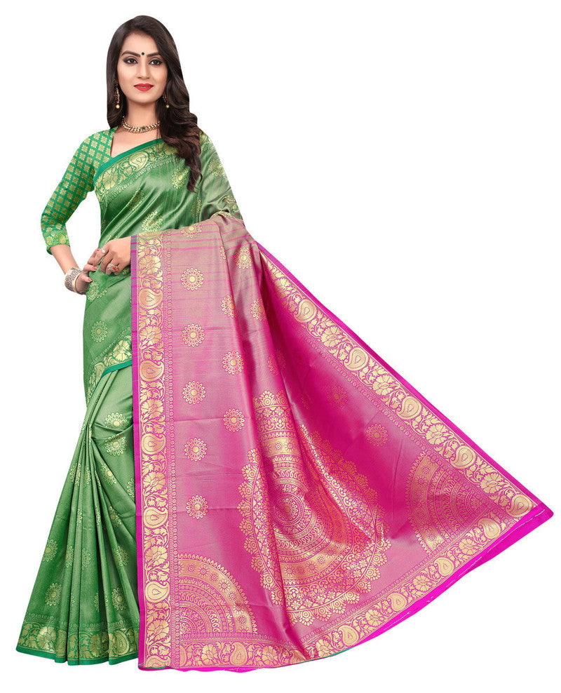 Banarasi Silk Weaving Work Saree With Blouse
