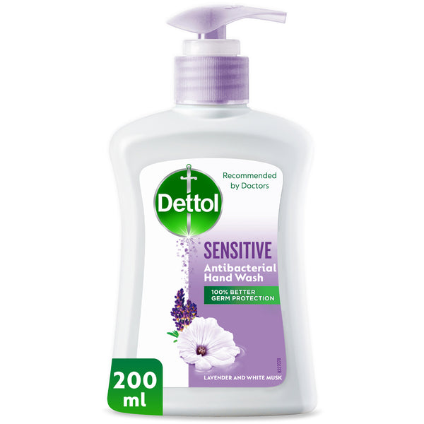 Dettol Sensitive Anti-Bacterial Liquid Hand Wash Lavender & White Musk 200ml