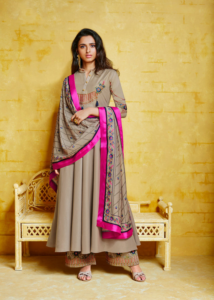 Beige Musline Thread Embroidered On Neck and Sleeve with Digital Print Dupatta