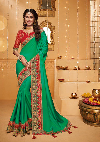 Green Thread and Zari Embroidered Lace Border with Embroidered Blouse Saree with Blouse