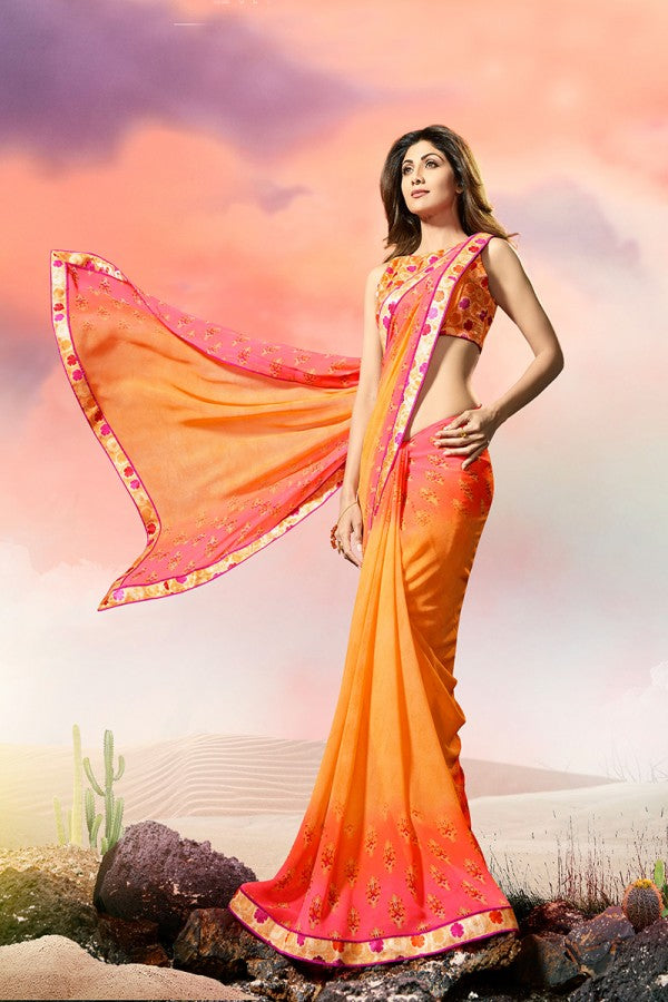 Ethnic Wear Multi Color Color Georgette Lace Border Saree with Blouse