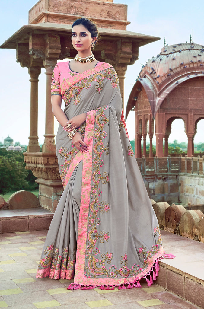 Grey Thread Embroidery and Moti work with Embroidered Blouse Silk Saree