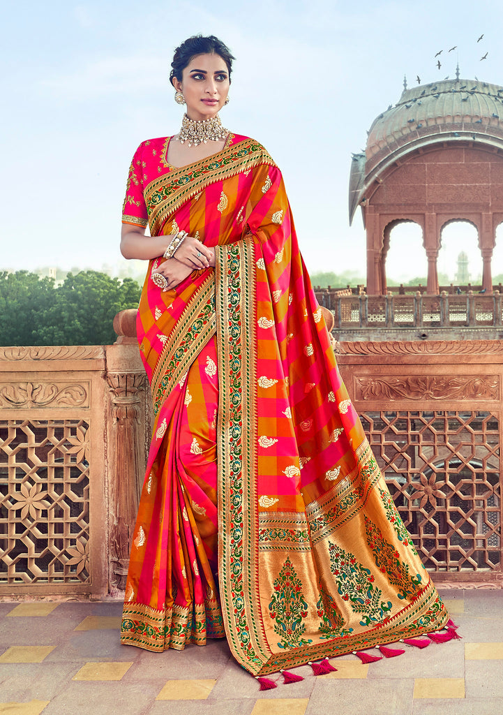 Multi color Thred Embroidery and Moti work with Embroidered Blouse Silk Saree