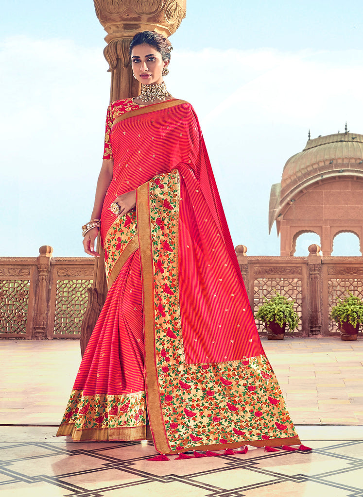 Red Thread Embroidery and Moti work with Embroidered Blouse Silk Saree