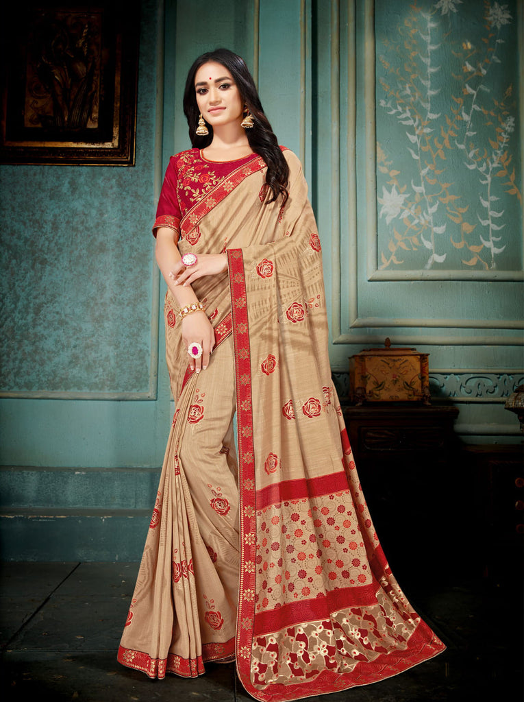 Beige Vichitra Silk Designer Printed Saree with Embroidered Blouse