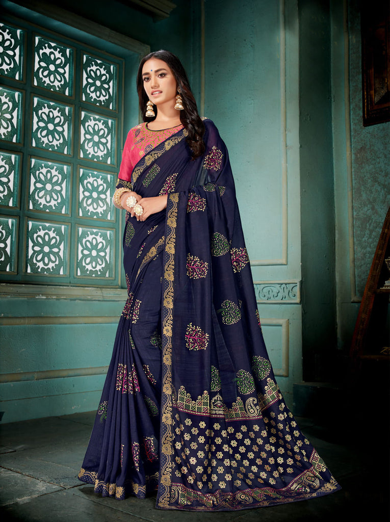 Navy Blue Vichitra Silk Designer Printed Saree with Embroidered Blouse