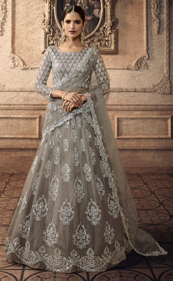 Grey Net Designer Sequence, Zari and Embroidered Work Lehenga Choli