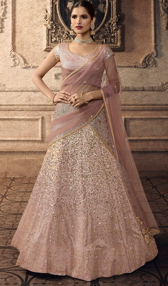 Light Pink Net Designer Sequence, Zari Embroidered, Stone and Diamond Work Lehenga Choli