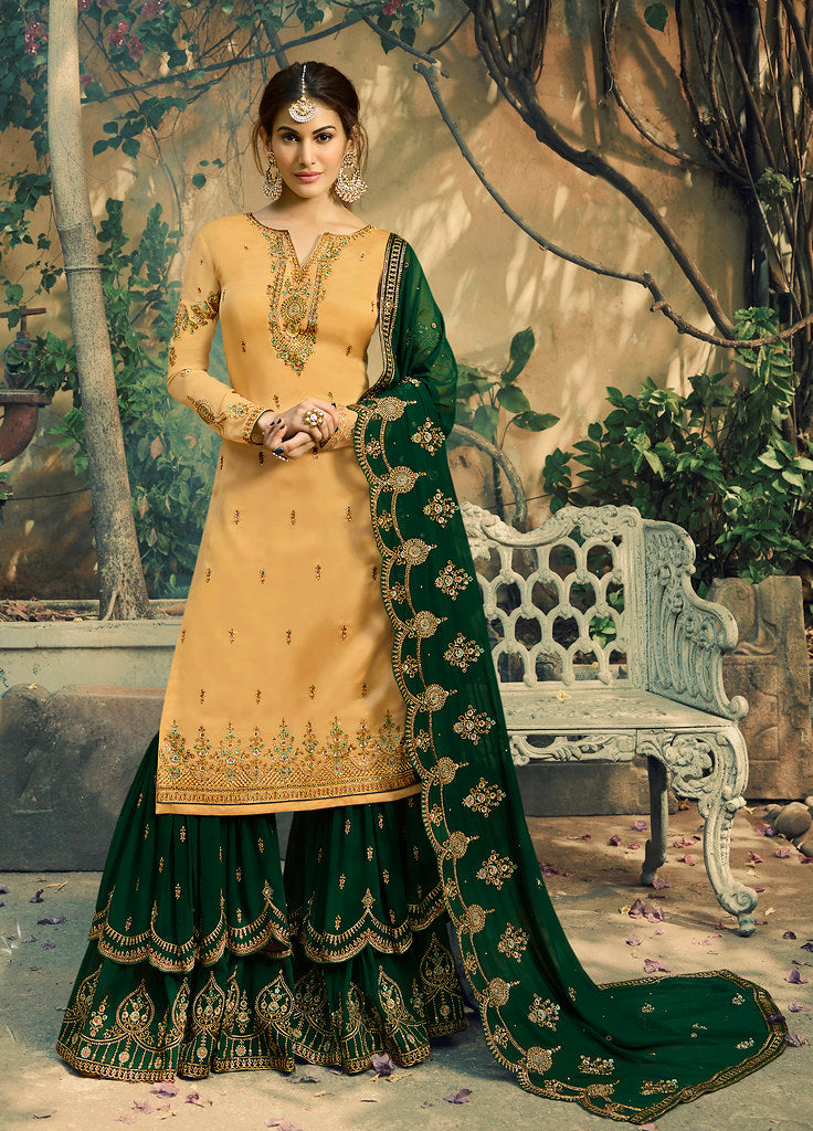 Yellow Heavy Thread Embroidered on Neck, Sleeve with Embroidered Bottom & Dupatta Salwar Kameez