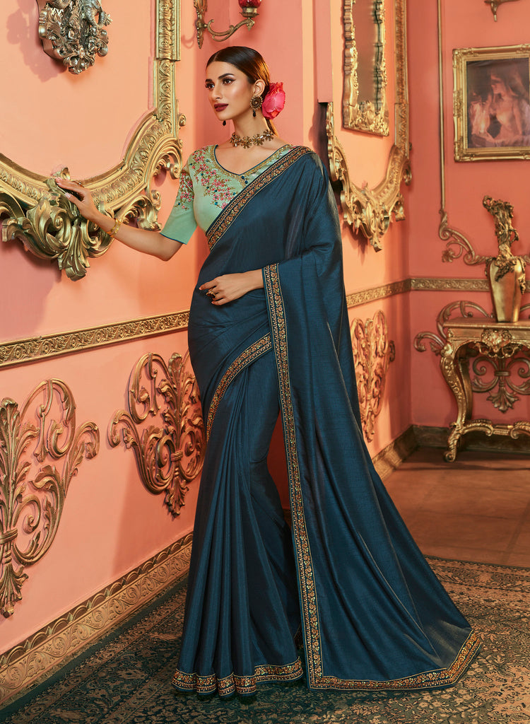 Dola Silk Saree Plain and Emboirdered Lace Border with Embroidered Blouse