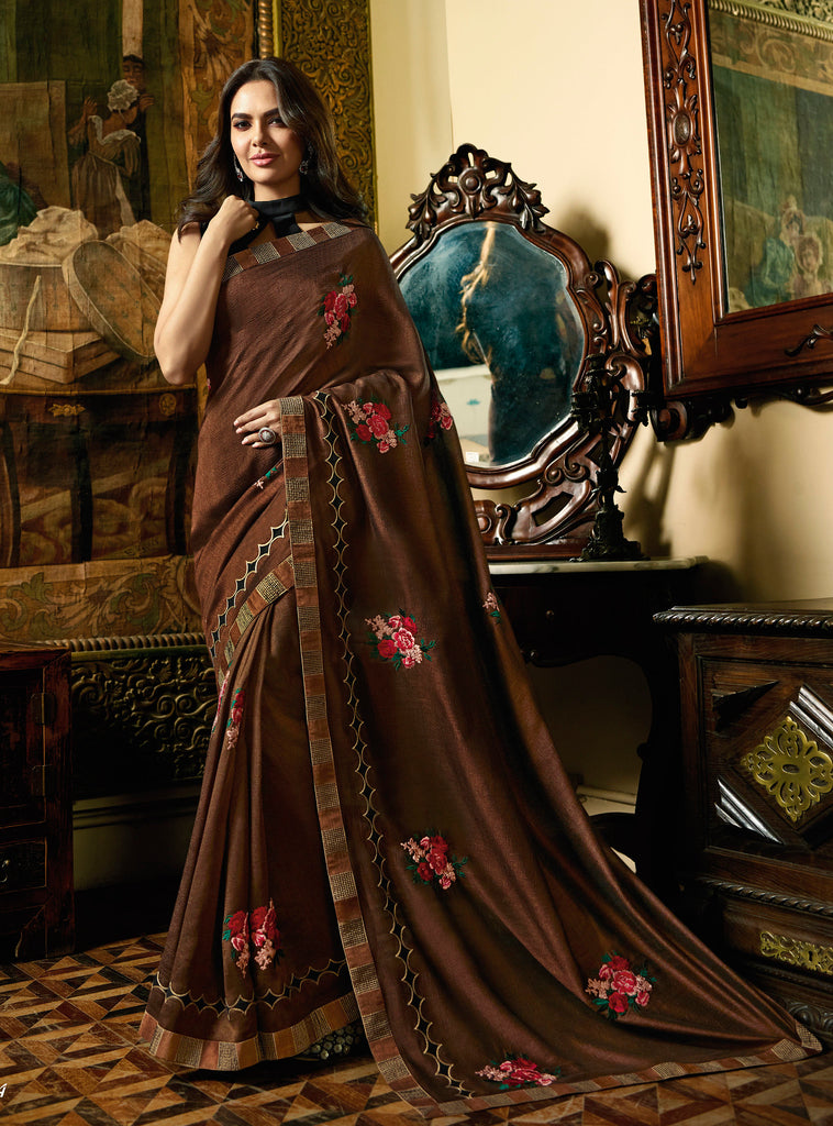 Brown Color Fancy Thread and Zari Embroiderey with Lace Border Saree woth Blouse