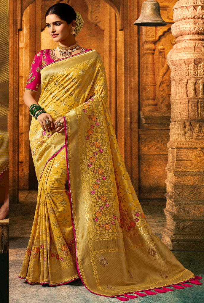 Silk Yellow Heavy Embroidered Lace Border Saree with Embroidered Blouse
