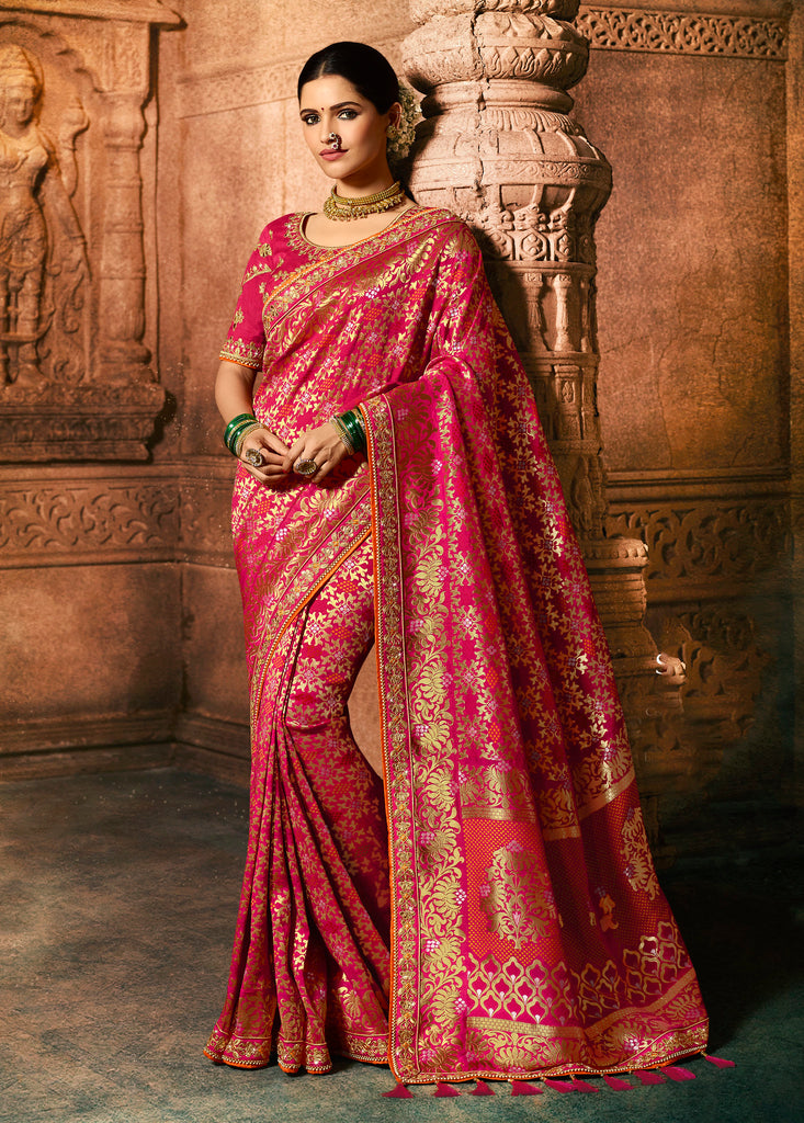 Silk Rani Pink Heavy Embroidered Lace Border Saree with Embroidered Blouse