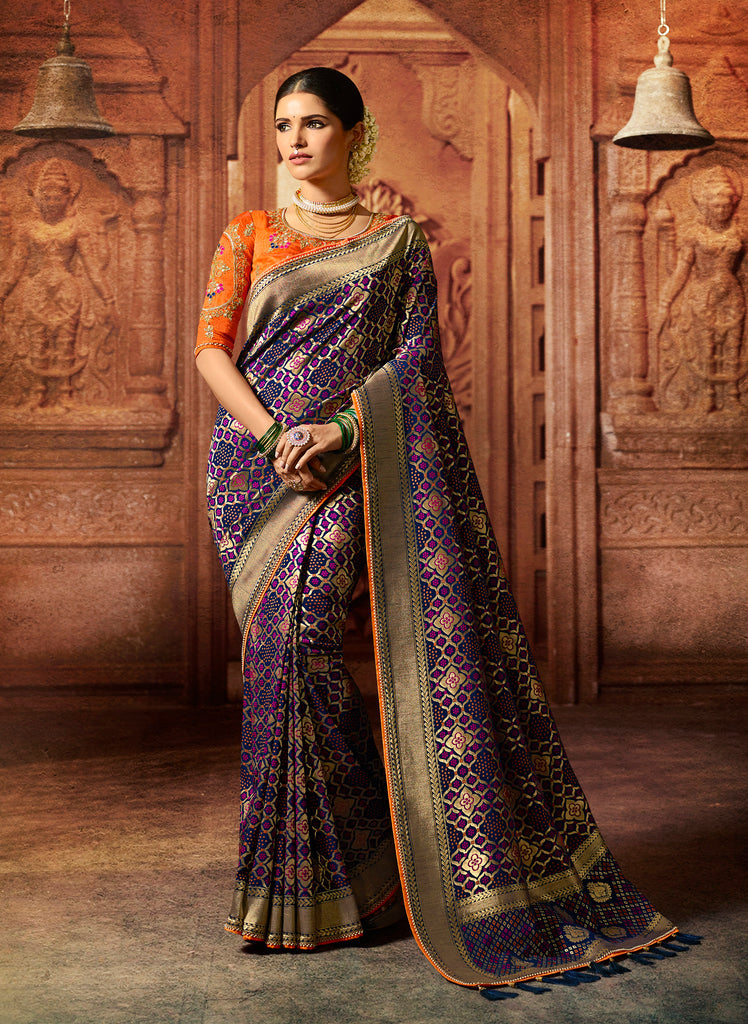 Silk Purple Heavy Embroidered Lace Border Saree with Embroidered Blouse