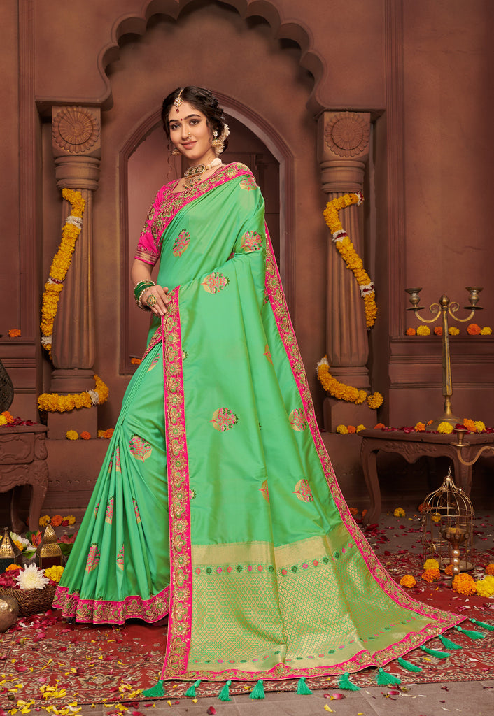 Light Green Silk saree Embroidered Lace Border with Embroidered Blouse