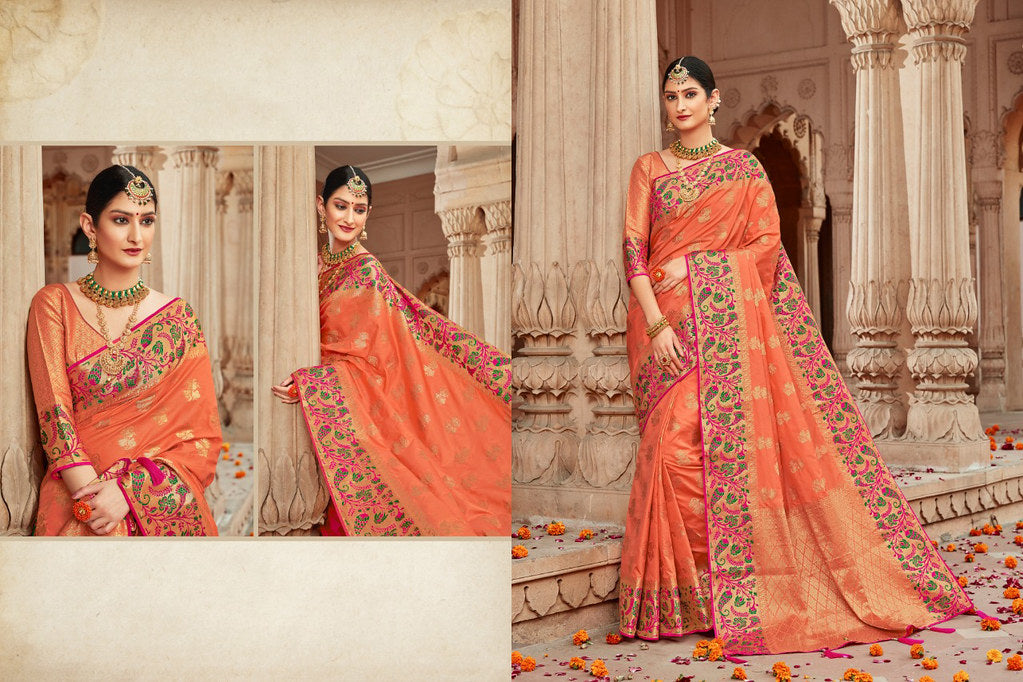 Silk Orange Jacquard Woven Saree with Blouse