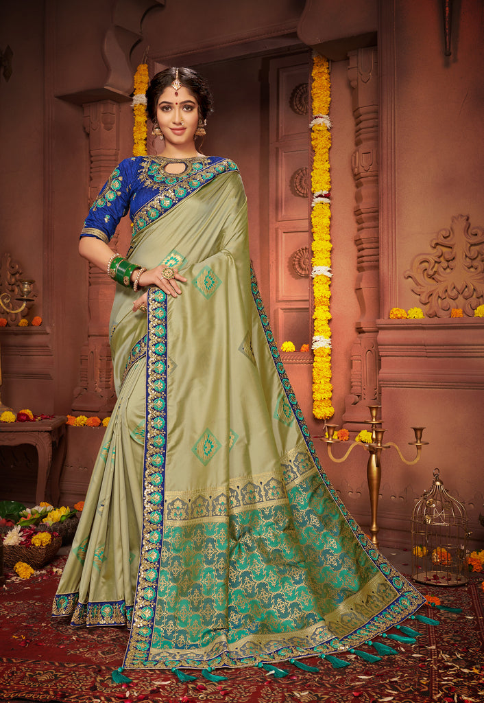Olive Green Silk saree Embroidered Lace Border with Embroidered Blouse