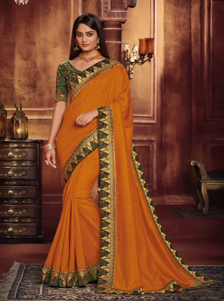 Satin Georgette Orange Thread and Zari Embroidered Lace Border Saree with Embroidered Blouse