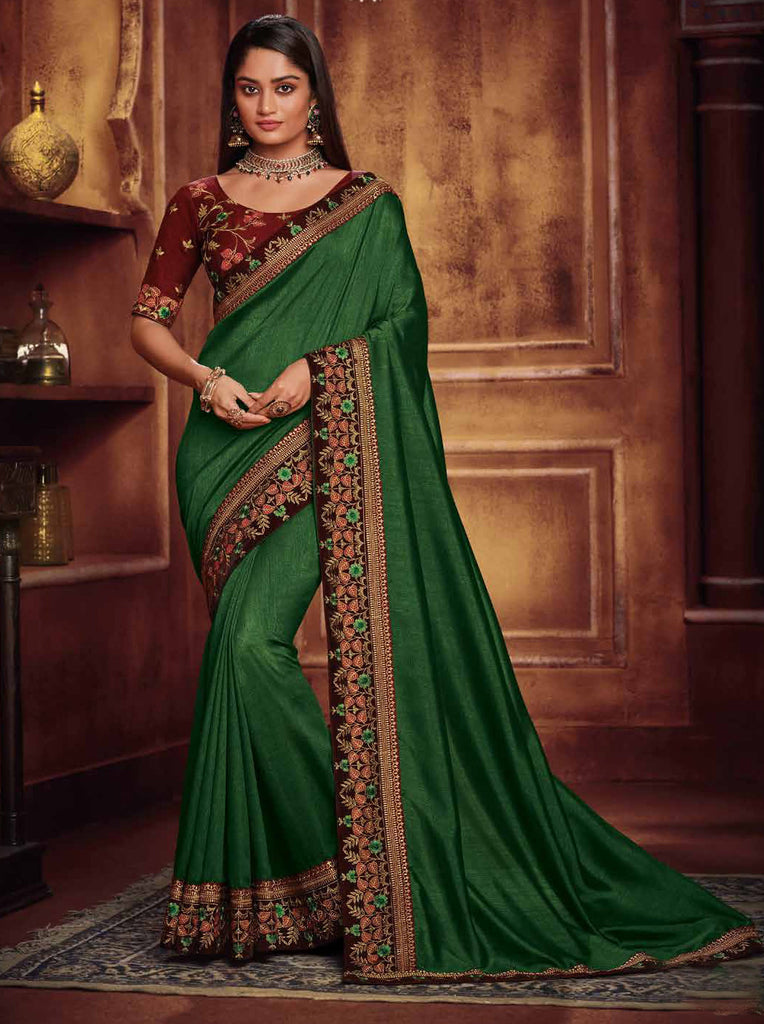 Satin Georgette Green Thread and Zari Embroidered Lace Border Saree with Embroidered Blouse