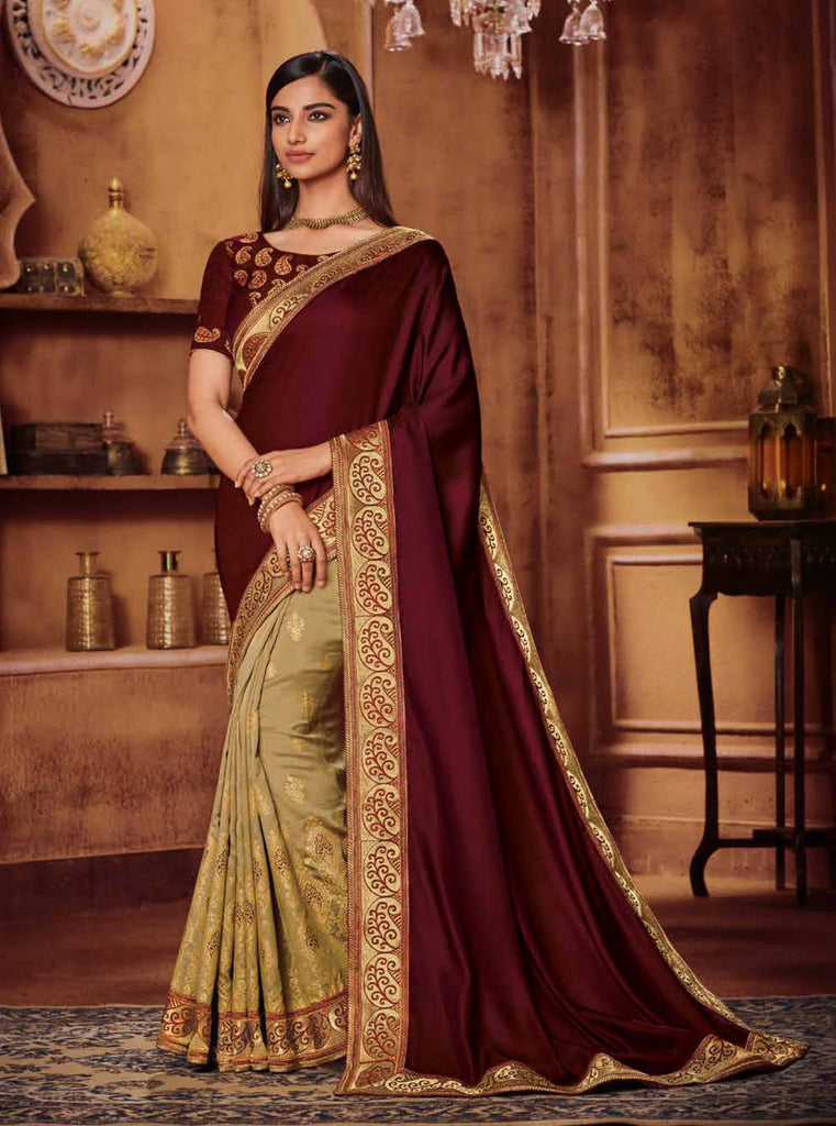 Satin Georgette Maroon & Chiku Thread and Zari Embroidered Lace Border Saree with Embroidered Blouse