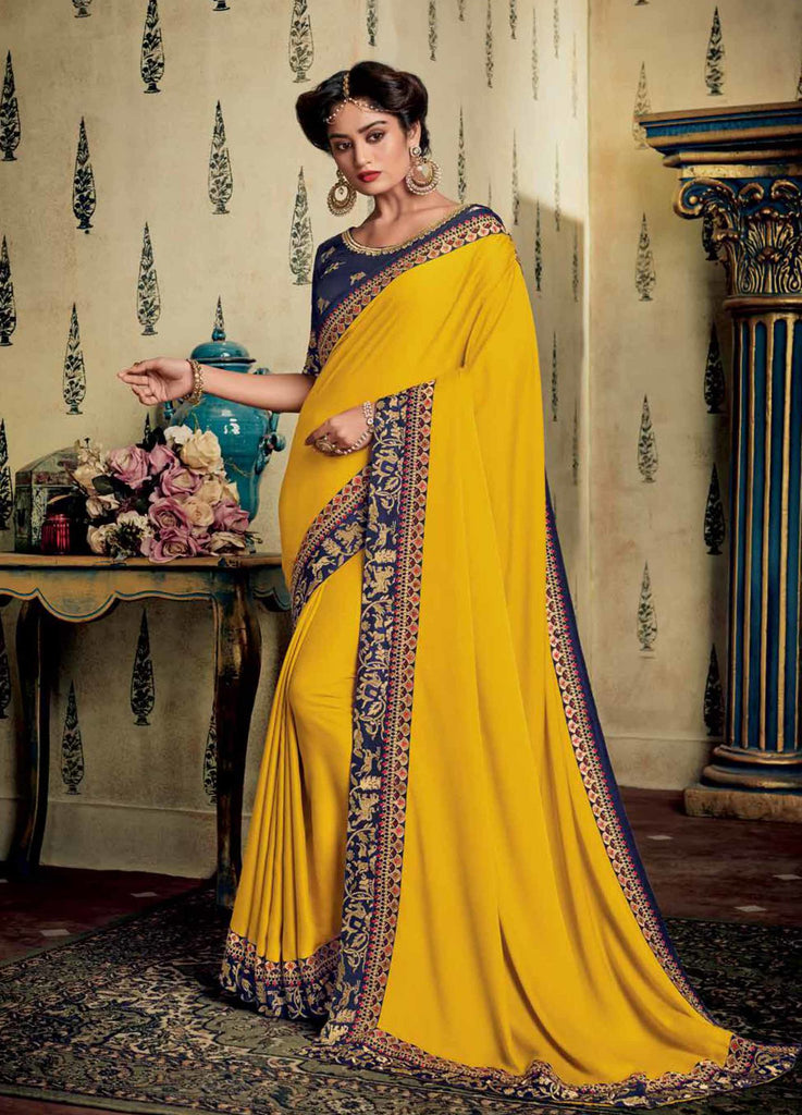 Satin Georgette Yellow Saree Thread and Zari Embroidered Lace Border with Embroidered Blouse