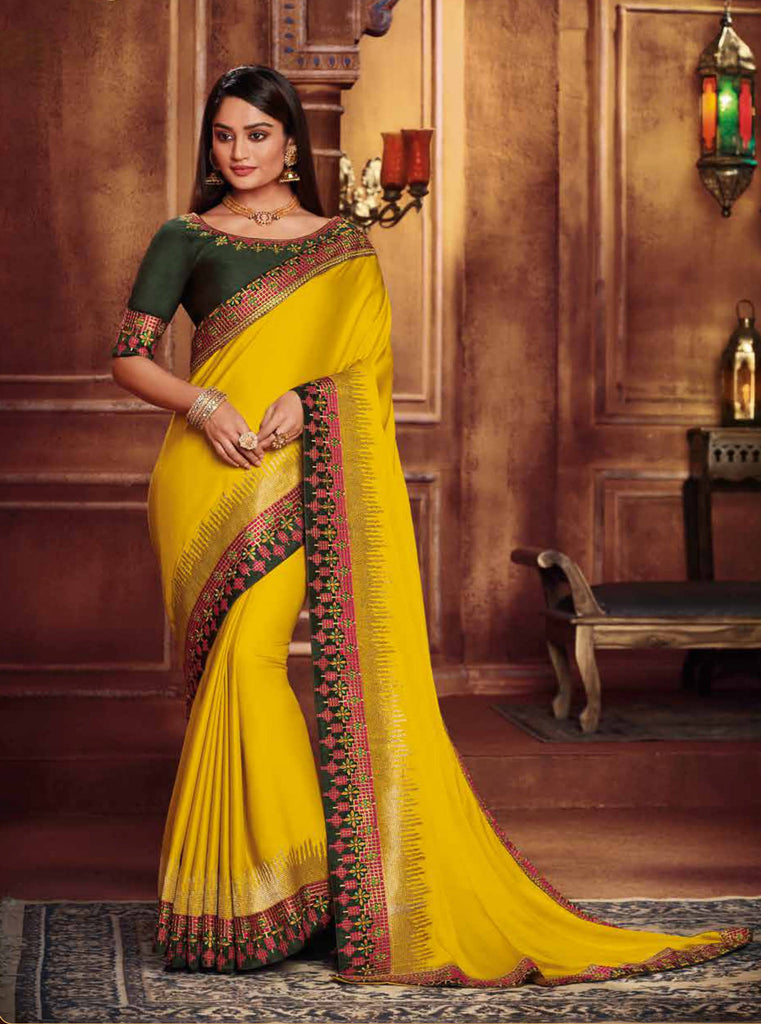 Satin Georgette Yellow Thread and Zari Embroidered Lace Border Saree with Embroidered Blouse