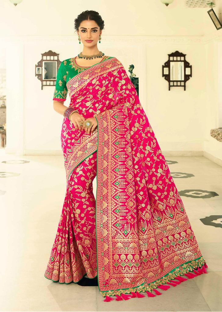 Silk Rani Pink Jacquard Woven Saree with Embroidered Blouse