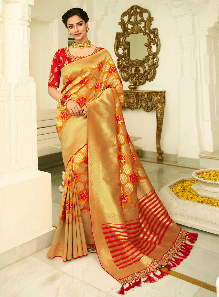Silk Mustard Jacquard Woven Saree with Embroidered Blouse