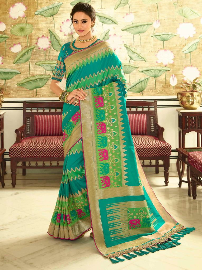 Silk Firozi Jacquard Woven Saree with Embroidered Blouse