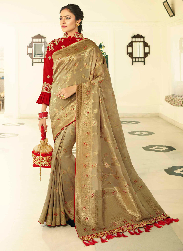 Silk Golden Jacquard Woven Saree with Embroidered Blouse